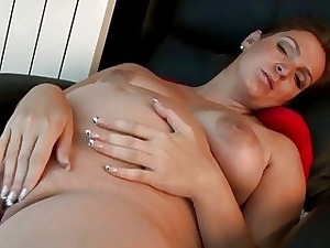 Pregnant briefly to be mom shows her stuff and masturbates