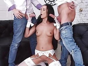 Tantalizing Brunette Angie Moon Has All 3 Holes Used by 2 Super-naughty Dudes