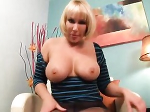 Mature blondie obese gal is showcasing her boob and her honeypot fuck hole