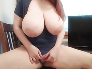Ginger-haired with huge hooters kneading her cunny fuck hole on the camera