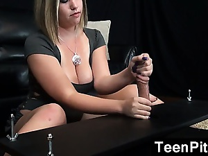 Chunky Teen Giant A Nobleness Cleft Handjob